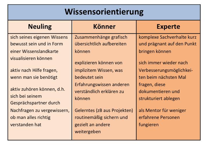 abbildung 4 beispiel einer dreistufigen beschreibung der kompetenz wissensorientierung - Mitarbeitergesprache Beispiele